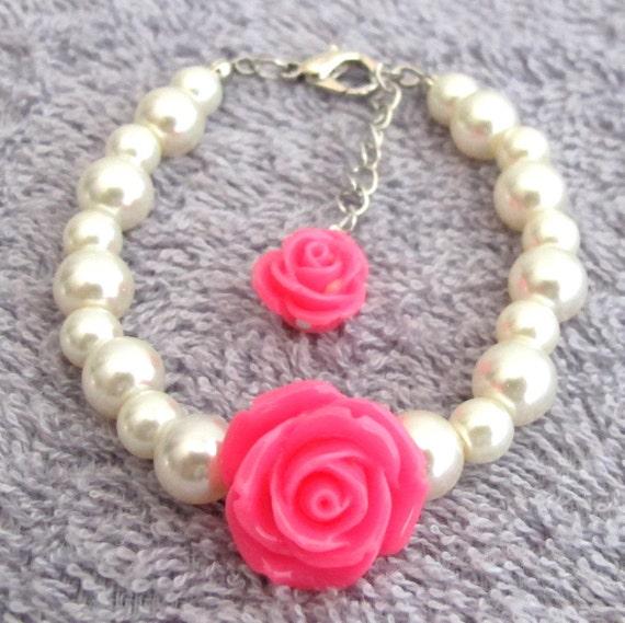 Little girl Bracelet with Flower Baby Toddler Bracelet Flower Girl Jewelry, Ivory pearls and Rose Flower  Keepsake Jewelry Free Shipping USA
