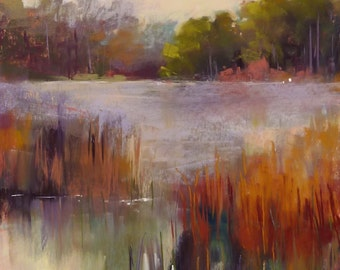 Wetlands Landscape marsh pond with egrets  Original Pastel Painting Karen Margulis