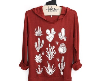 L - Rust SOFT Pullover Hooded Sweatshirt with Cactus Screen print