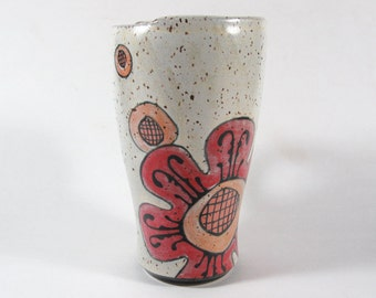 Travel Mug with a Funky Flower and Dots