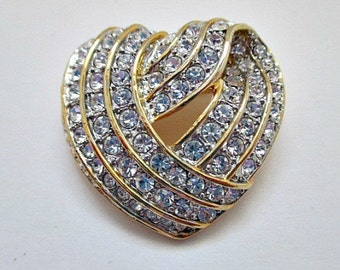 Vintage Brooch Pin / Pave Crystal Heart Pin Brooch / Vintage Jewelry Gift