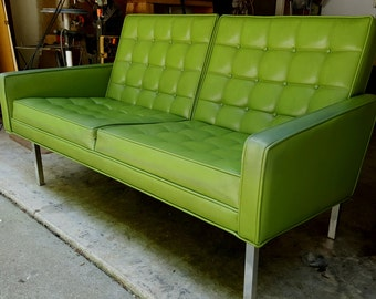 Fabulous Green Tufted Back Chrome Frame Love Seat Knoll Look
