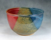 10 Cup Blue Red and Yellow Large Ceramic Serving Bowl Wheel Thrown Pottery Bowl 2