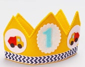 Construction Birthday Boy Party Hat - Dump Truck Birthday Crown - Toddler Boy Birthday Party - Smash Cake Prop for Boys - Personalized Crown