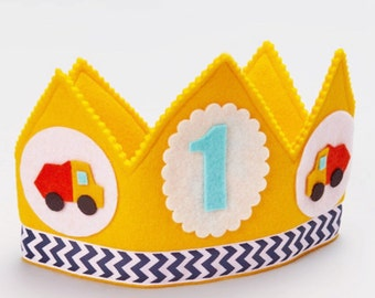 SALE Construction Birthday Boy  - Dump Truck Birthday Crown - Toddler Boy Birthday Party - Smash Cake Prop for Boys - Personalized Crown