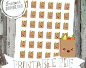 Kawaii Grocery Shopping Weekly Reminders - Printable Planner Stickers - PDF - Instant Download