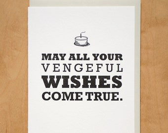 Vengeful Birthday Wishes - Letterpress Card