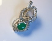 MoonStone and Jadeite & Silver Wire Wrapped Pendant Necklace