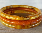Vintage Bakelite Bangle Bracelets Lot of 3 Carved Swirled toffee pumpkin spice iced tea Rope wheat rounded bangles spacers