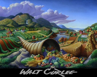 Horn Of Plenty, cornucopia, original oil painting. Farm landscape, folk art, folkart, Thanksgiving, Americana,  Autumn by Walt Curlee