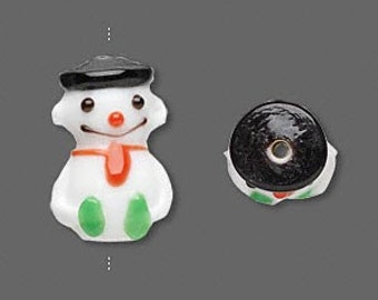 Christmas 3-tiered Snowman Glass Bead Pendant 21x13mm 1 piece