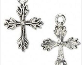 Leaf Design Cross Antique Pewter Charms Pendants 22mm 2 pieces