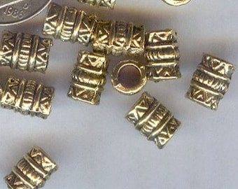 Large Hole Antique Gold Pewter Fancy Tube Beads 7mm 24pcs