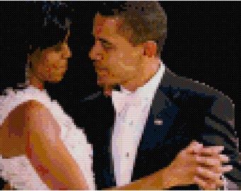 Michelle & Barack Obama cross-stitch pattern