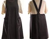 Plus Size No Ties Apron in Black Denim,  make it your kitchen apron, no ties