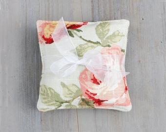 Linen Lavender Sachets, Aqua and Pink Roses, Shabby Home Decor