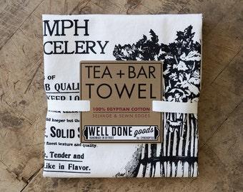 Celery Print Tea Towel. Silkscreened organic cotton or white Egyptian cotton flour sack towel. Dish towel, bar towel. Seed catalog print.