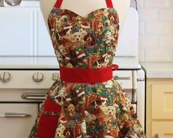 Retro Sweetheart Apron Christmas Dogs BELLA