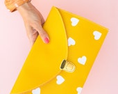 Mustard Yellow Envelope Clutch Purse & Chain (Dots, Hearts or Triangles Pattern)