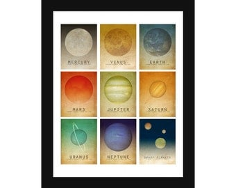Solar System All In One 16x20 Print - Astronomy Space Art , Milk Way Planets, Universe Galaxy Art, Geek Chic Nerd Science Posters Earth Mar