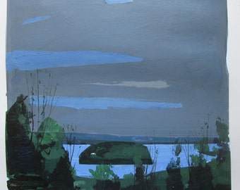 Island Home, Original Spring Landscape Collage Painting on Paper, Stooshinoff