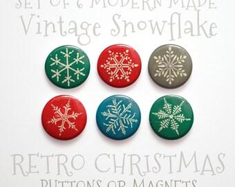 """Stocking Stuffer- Christmas Snowflake- Christmas Buttons 1 inch or Christmas Magnets- Christmas Decor- Set of 6- 1"""" Christmas Pins"""
