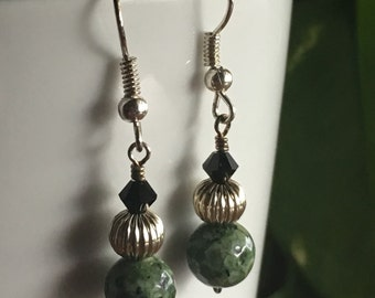 Zoisite and Crystal Earrings