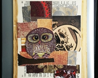 Owl Art-Owl Original Abstract Art-Handmade Mixed Media Collage Art-Art-Painting-Modern Art-Abstract Art-Owls-Owl Art-Mixed Media