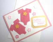 Congratulations twin girls baby card handmade stamped embellished flower stationery