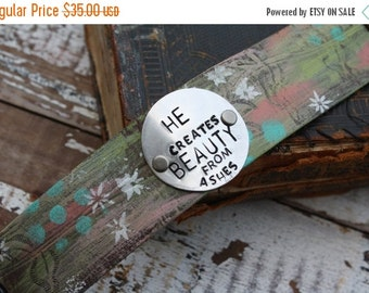30% OFF SUPER SALE- Stamped Leather Cuff-Beloved-Word Cuff-Loved Collection-Valentines Gift