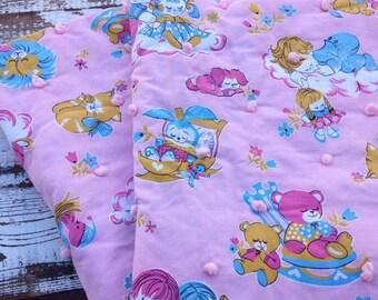 30% OFF SUPER SALE- Vintage Hand Tied Baby Blanket-Sweet Dreams-Pink Nursery