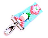 Chapstick holder, lip balm keychain, Blue with Pink and Green Aztec