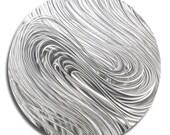 All Natural Silver Abstract Metal Wall Art Accent - Modern Metal Wall Decor - Handmade Circular Metal Hanging - Silver Aurora by Jon Allen
