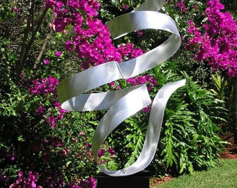 Abstract Silver Freestanding Metal Sculpture, Modern Handmade Indoor-Outdoor Art,  Large Ribbon Decor - Whisper by Jon Allen