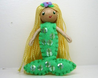 Mermaid Bendy Doll by Princess Nimble-Thimble, felt doll, bendable doll, waldorf bendy doll, small doll