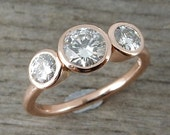 Moissanite and Recycled 14k Rose Gold Three-Stone Wedding or Engagement Ring, Eco-Friendly, Handmade, Diamond Alternative, Made To Order