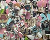 Mosaic Tiles Colorful Broken Plate Tesserae Art Supply Retro Pink Flower Designs Mix Pieces 300