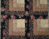 Set of 12 Presewn Half  Log Cabin Quilt Blocks Pink Floral on Black Tan Cream 9.5 inches