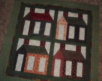 Quilt Top to Finish Scrappy Houses Wallhanging Table Topper 35 inches square