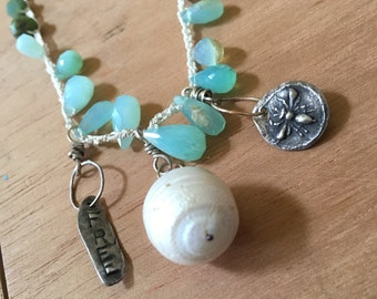 bee free with Peruvian opal with pearl and fine silver; chain length 21 inches (adjustable)