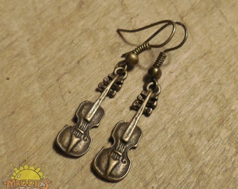 Bronze Colored Fiddle Earrings