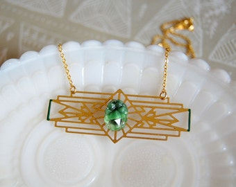 brass art deco necklace- green enamel detail- vintage glass stone