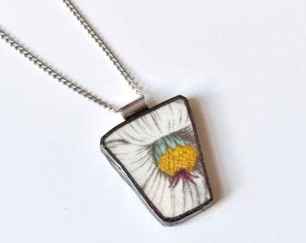 ETSYVERSARY SALE Broken China Jewelry Pendant - Portmeirion China - White and Yellow Flower