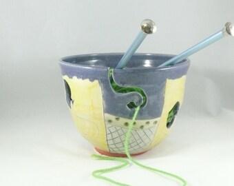 Artistic Ceramic Knitting Bowl Yarn Bowl - Knitting organizer - Crochet Basket Alternative - Owl Design Home Decor YB81