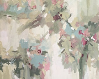 large abstract acrylic painting, abstract floral, pamela munger, contemporary art, neutral colors