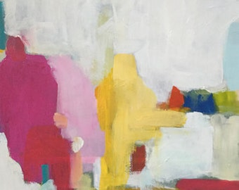 contemporary art, modern art, abstract painting, colorful abstract white art