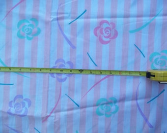 Vintage Pink and White Striped Floral Cotton or Cotton Blend 58 inches wide x 3 yds. 22 inches