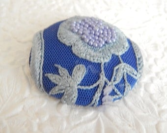 Blue bejeweled button,  embellished button, beaded button, embroidered button,fabric covered button, size 75 buttons