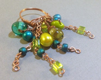 CLEARANCE: Green Pearl Ring - Dangle Ring - Cluster Ring - Statement Ring - Wire Wrap Ring - Copper Ring - Boho Chic - Gift For Her - SALE