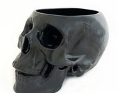 Large Ceramic Skull Holder or Container for Make-up Brushes, Skull Planter, Kitchen Counter Catch All, Bath Vanity Organizer, Pick Color